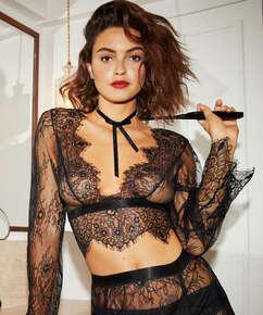 Top Allover Lace, Noir