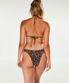 Top de bikini triangle mini Léopard, marron