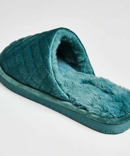 Hausschuhe Velours, Blau