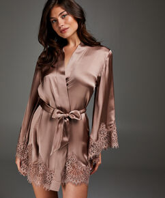 Kimono soie dentelle festonnée, Rose