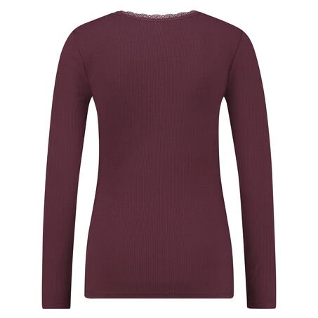 Top LS Rib R-neck, Rouge