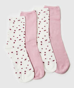 2 paires de chaussettes Floral Soft Touch, Blanc