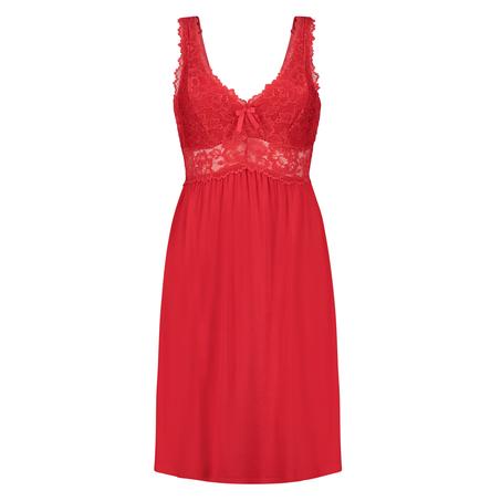 Slipdress Modal Lace mit Spitze, Rot