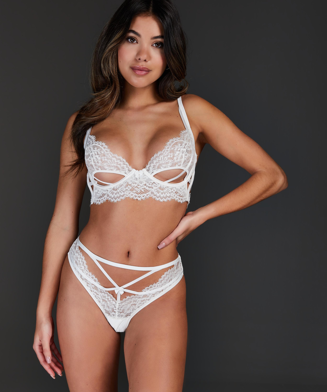 Soutien-gorge à armatures non-préformé longline Eve, Blanc, main