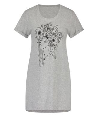 Chemise de nuit à encolure arrondie, Gris