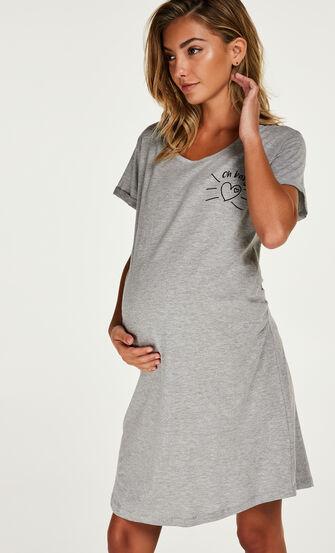 T-shirt de nuit grossesse à manches courtes, Gris