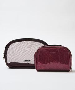 Make-up-Tasche, zweiteilig, Rot