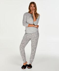 Langes Pyjamaset Jersey, Grau