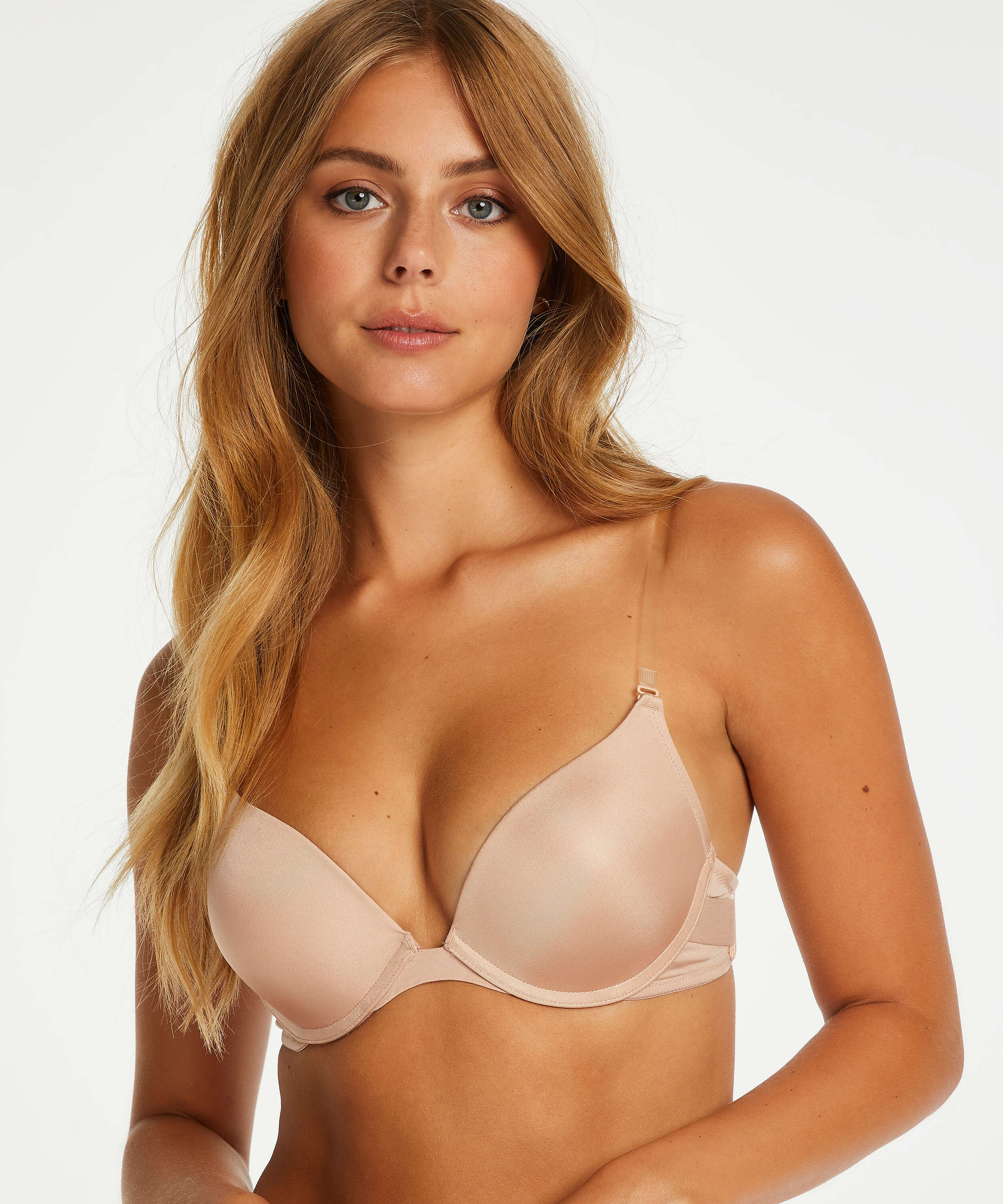 Soutien-gorge à armatures préformé push-up Transparent back, Beige, main