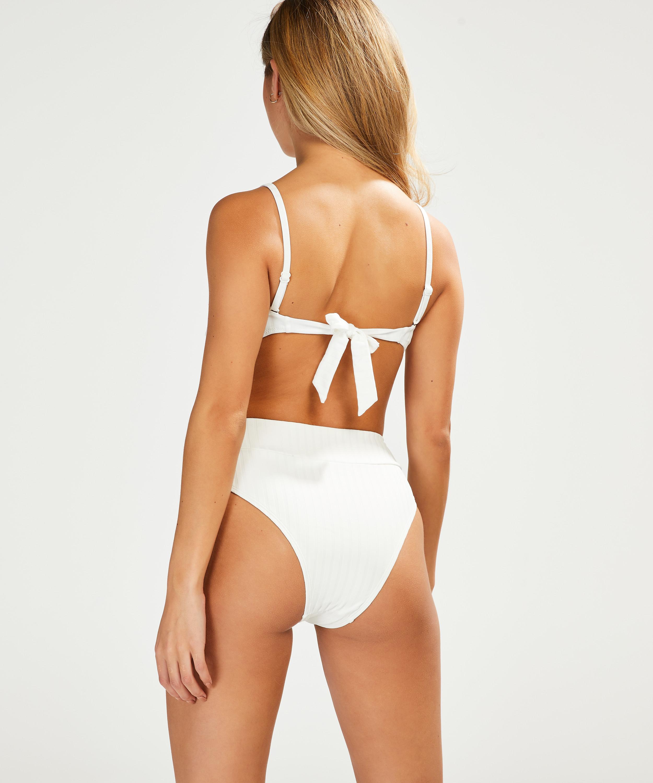 Bas de bikini taille haute Emily, Blanc, main
