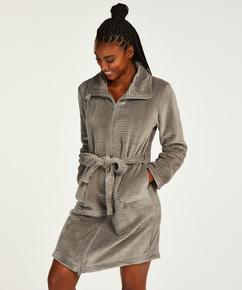 Bademantel Zip Fleece, Grau