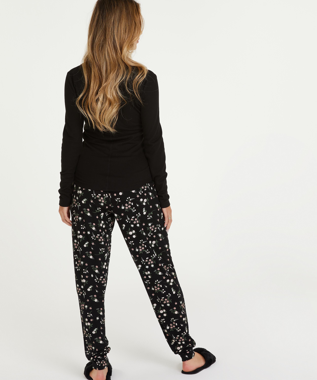 Haut de pyjama à manches longues, Noir, main