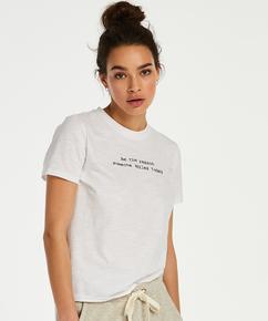 Haut de pyjama manches courtes Jersey, Blanc