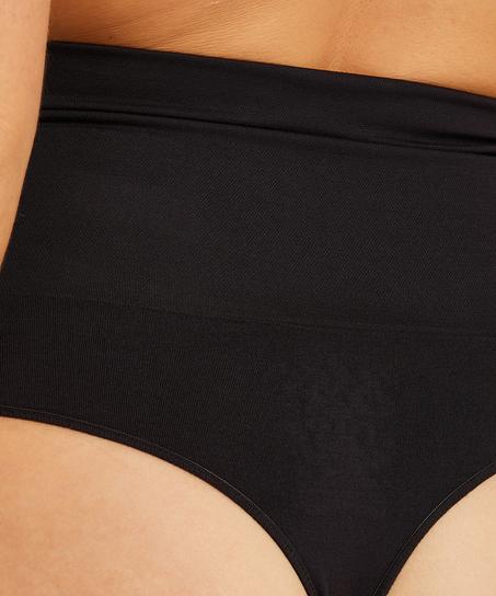 String raffermissant taille haute sans coutures - Level 2, Noir