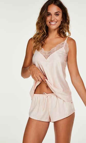 Short de pyjama en satin, Rose