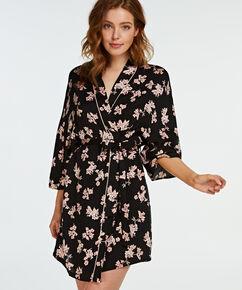 Kimono woven blossom, Noir