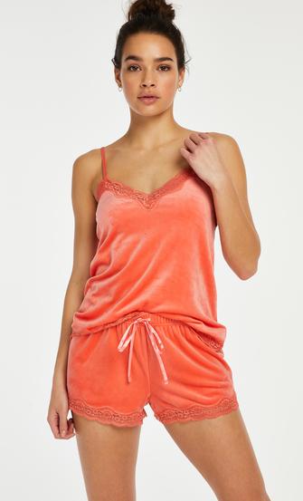 Camisole velours Dentelle, Orange