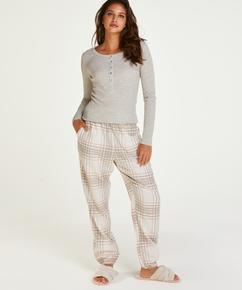 Langarm-Pyjamatop, Beige