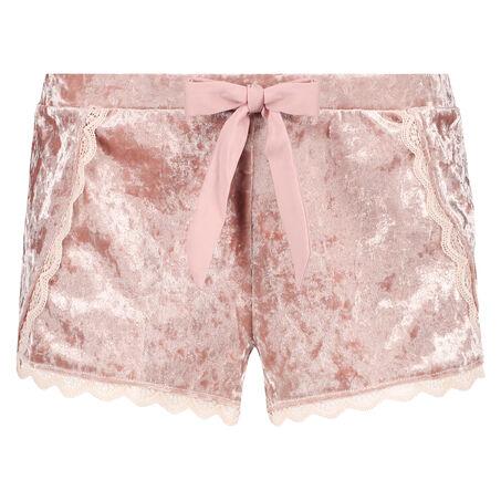 Shorts Velours Lace, Rose