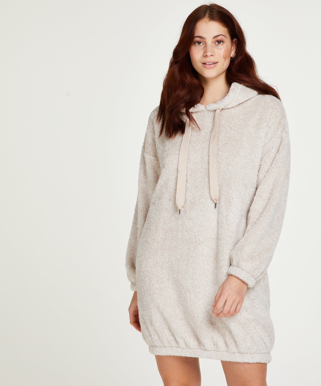Robe snuggle polaire femme, Beige, main