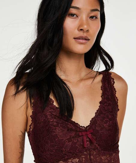 Longue nuisette Modal Lace, Rouge