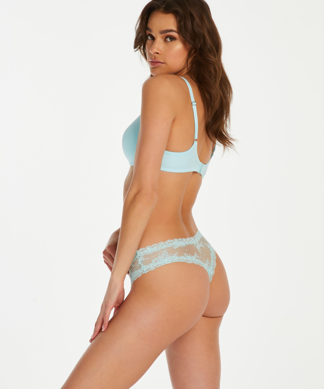Slip brésilien V-shape mesh, Bleu, main
