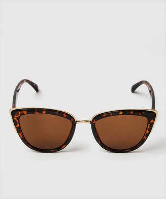 Cat Eye Sonnenbrille, Braun