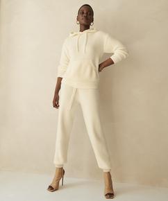 Premium Pantalon de jogging Fluffy, Blanc