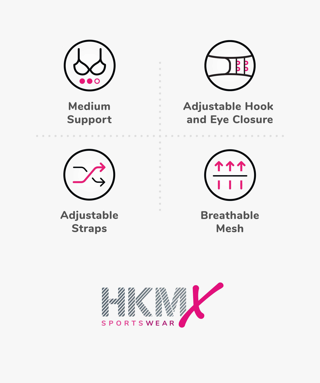 HKMX Soutien-gorge de sport The All Star Maintien niveau 2, Gris, main