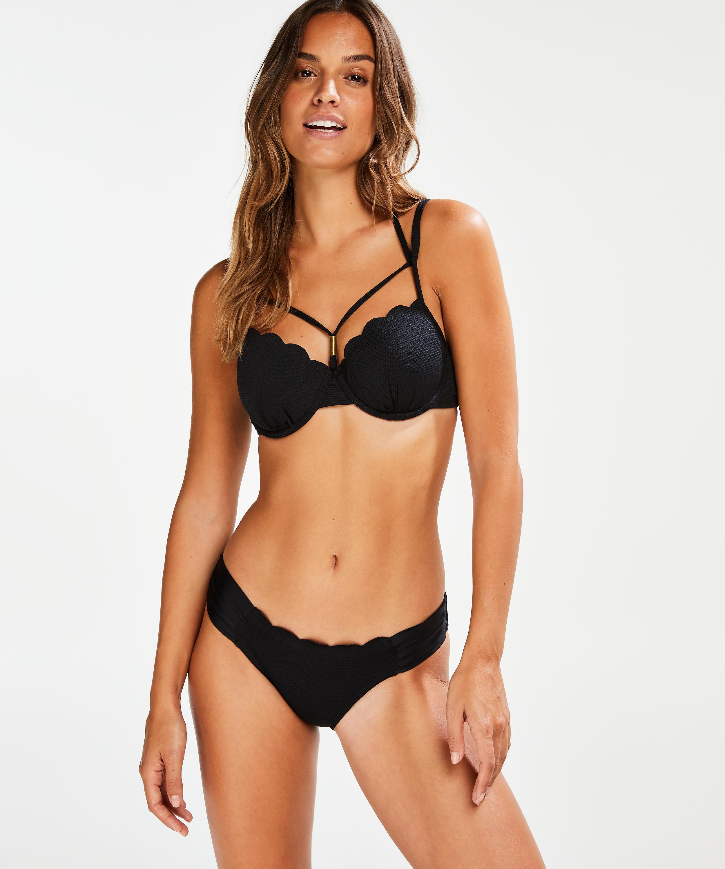 Haut de bikini à armatures préformé Scallop Glam, Noir, main