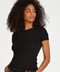 Haut de pyjama manches courtes rib crew neck, Noir
