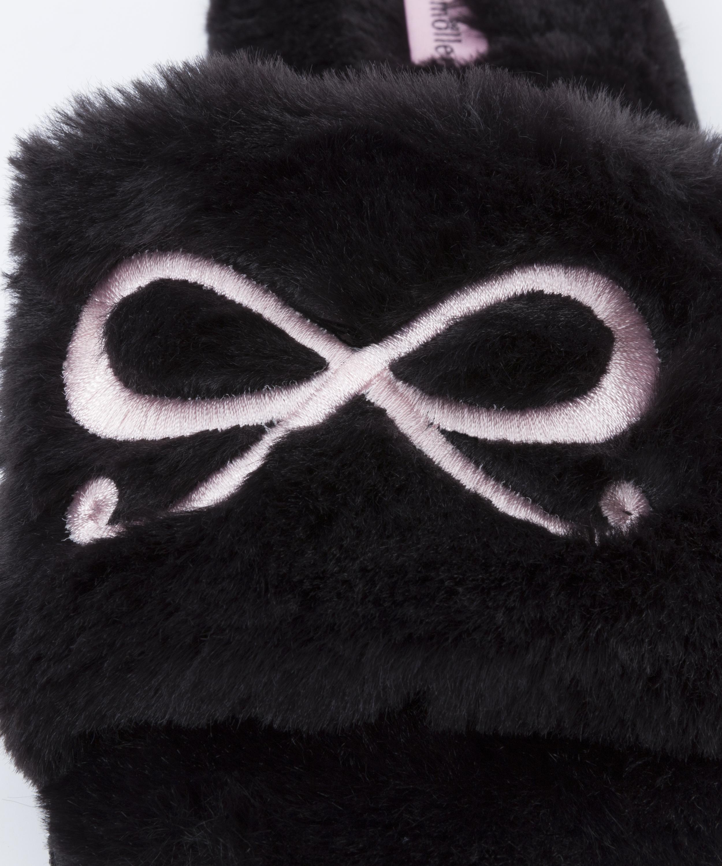 Fake Fur Slippers Bow, Schwarz, main