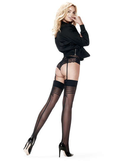 Stockings 30 Denier Delicate Lines, Schwarz
