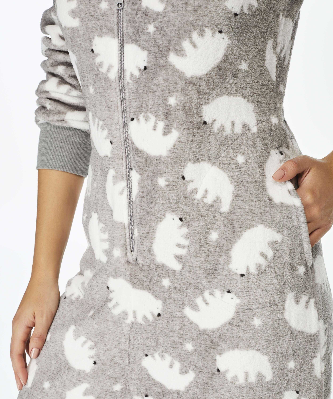 Combinaison Fleece, Gris, main