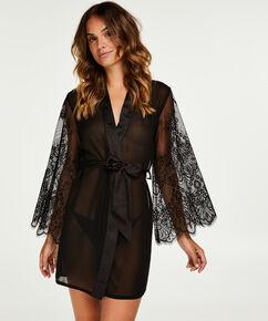 Kimono Chiffon Mesh Lace, Noir