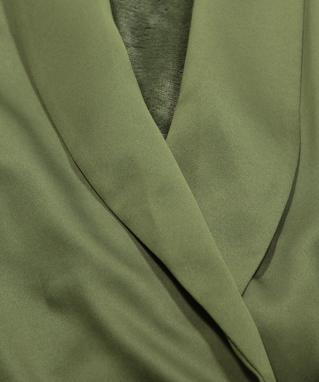 Peignoir en polaire satinée, Vert, main