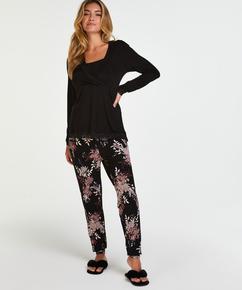 Pyjama-Set für das Stillen , Schwarz
