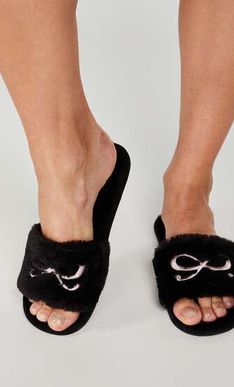 Fake Fur Slippers Bow, Schwarz
