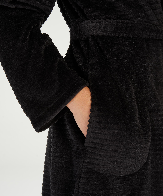 Peignoir court avec fermeture à glissière, Noir, main
