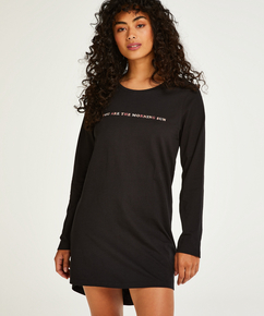 Chemise de nuit à décolleté arrondi, Noir
