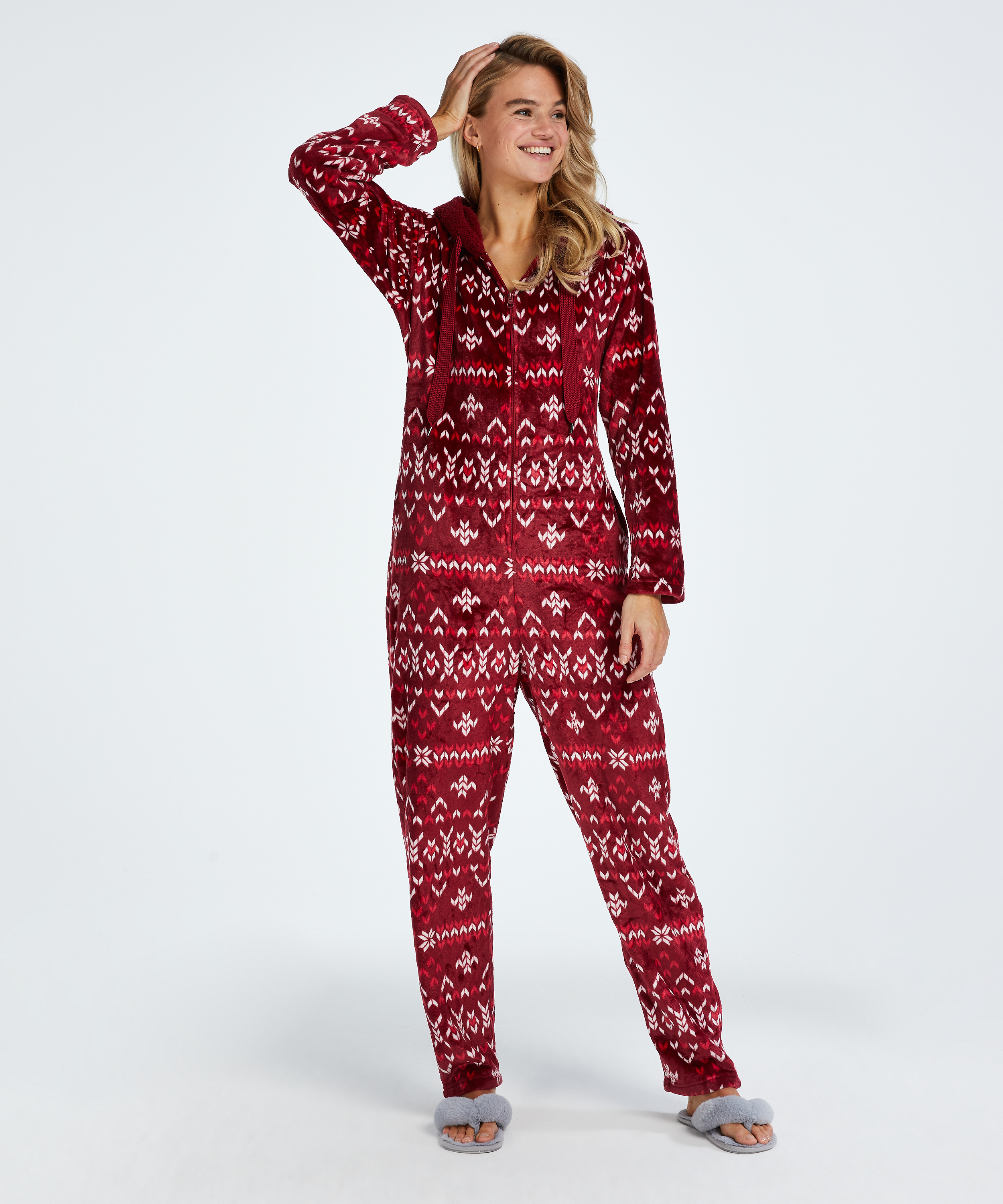 Onesie Flanelle Polaire, Rouge, main