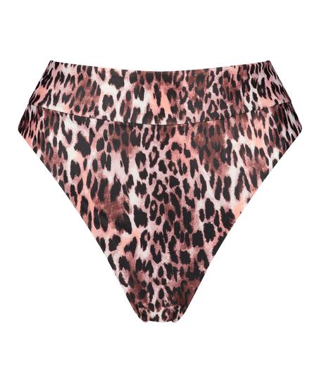 Bas de bikini taille haute Leopard, Noir