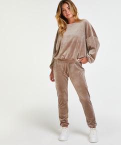 Pantalon de jogging en velours lurex, marron