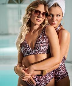 Haut de bikini Triangle Leopard, Noir
