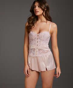 Shorts Satin Amelia Tap, Rose