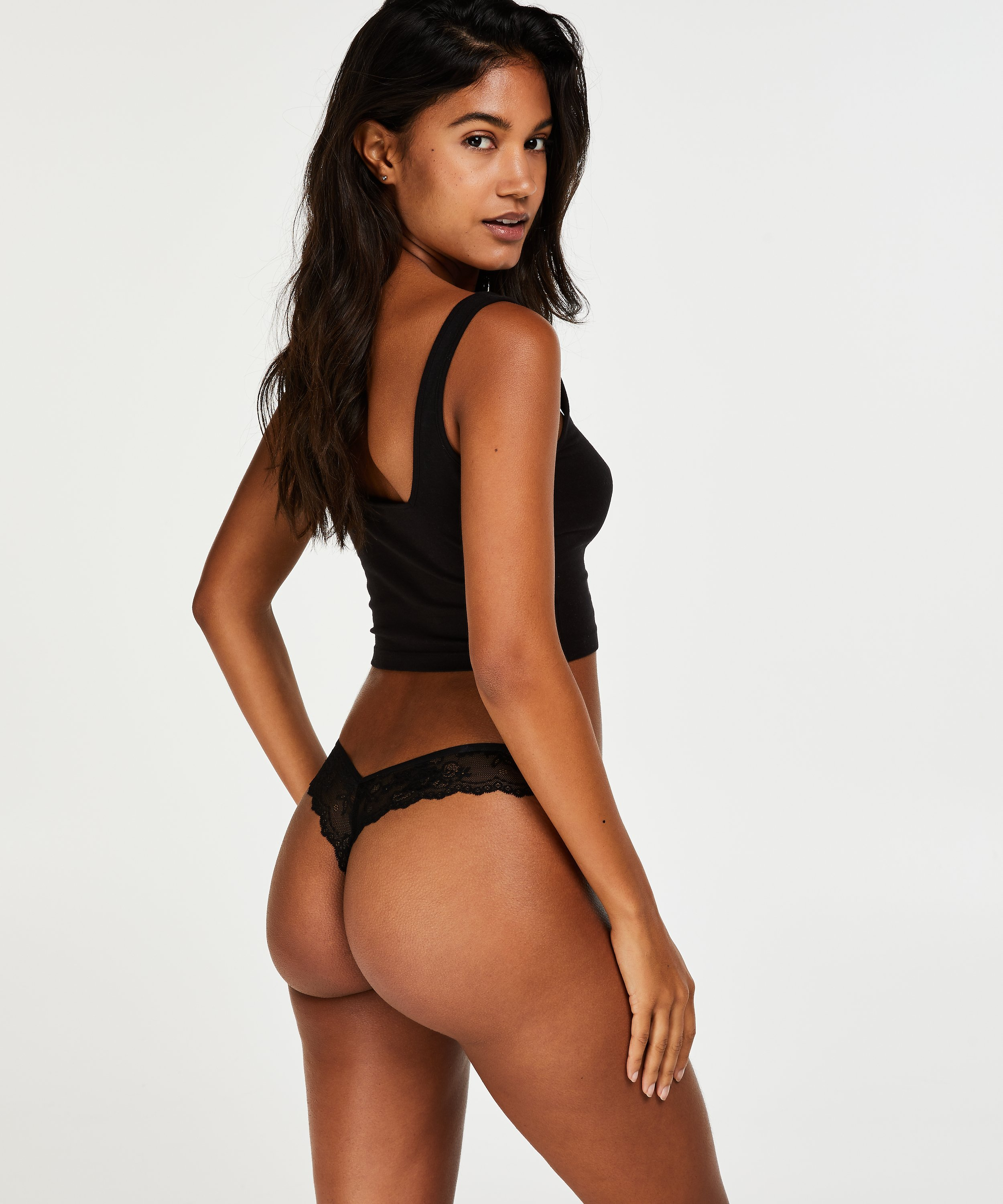String Invisible Lace back, Noir, main