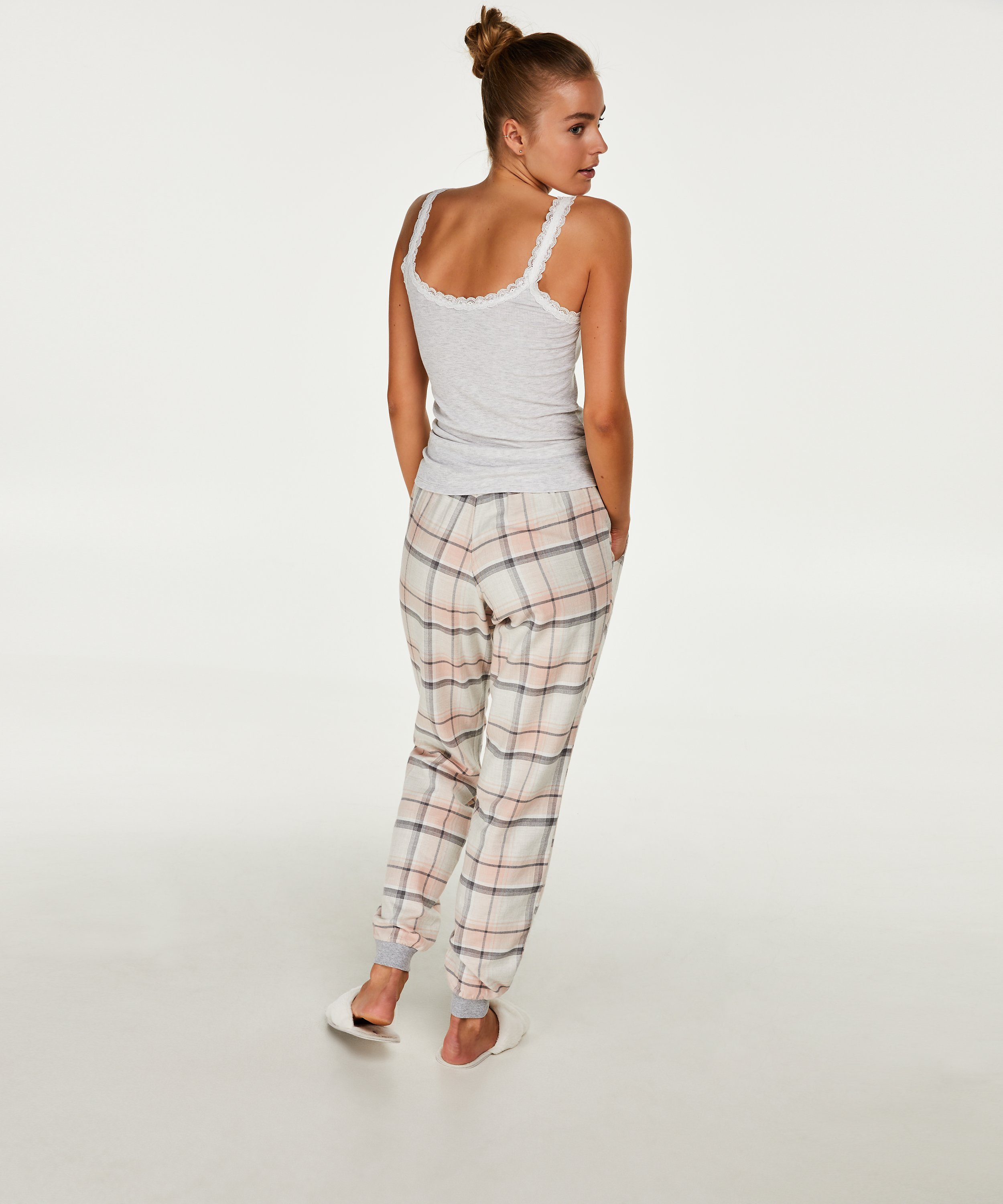 Pantalon de pyjama Check, Rose, main