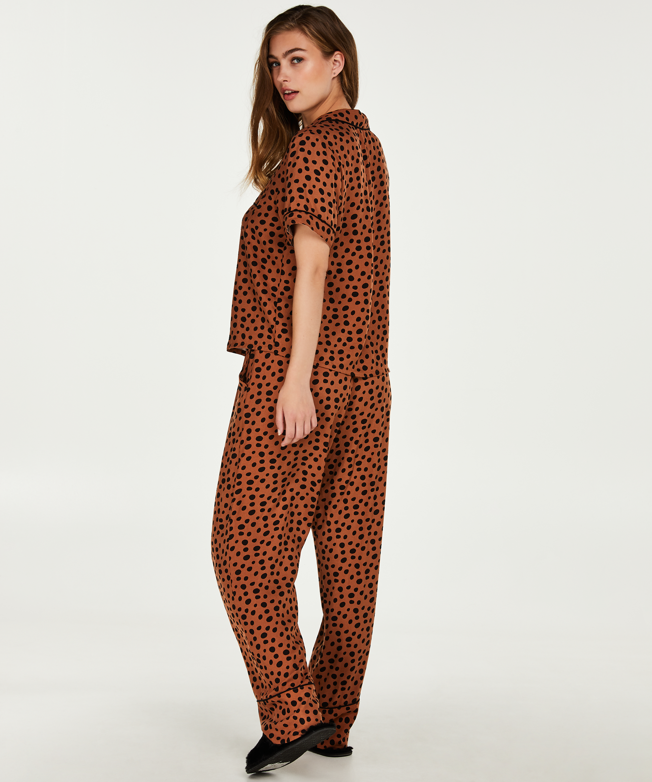 Pantalon de pyjama, marron, main