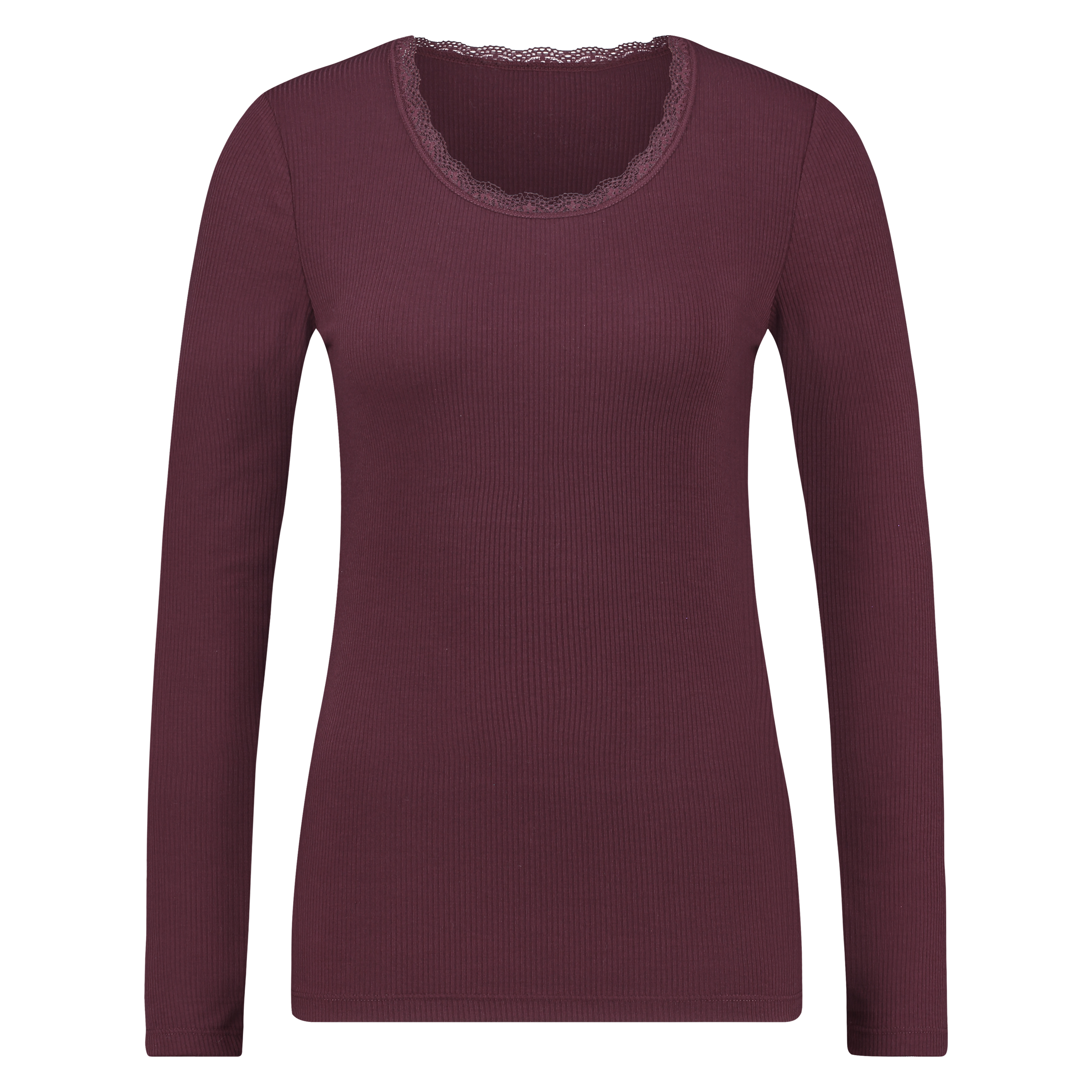 Top LS Rib R-neck, Rouge, main